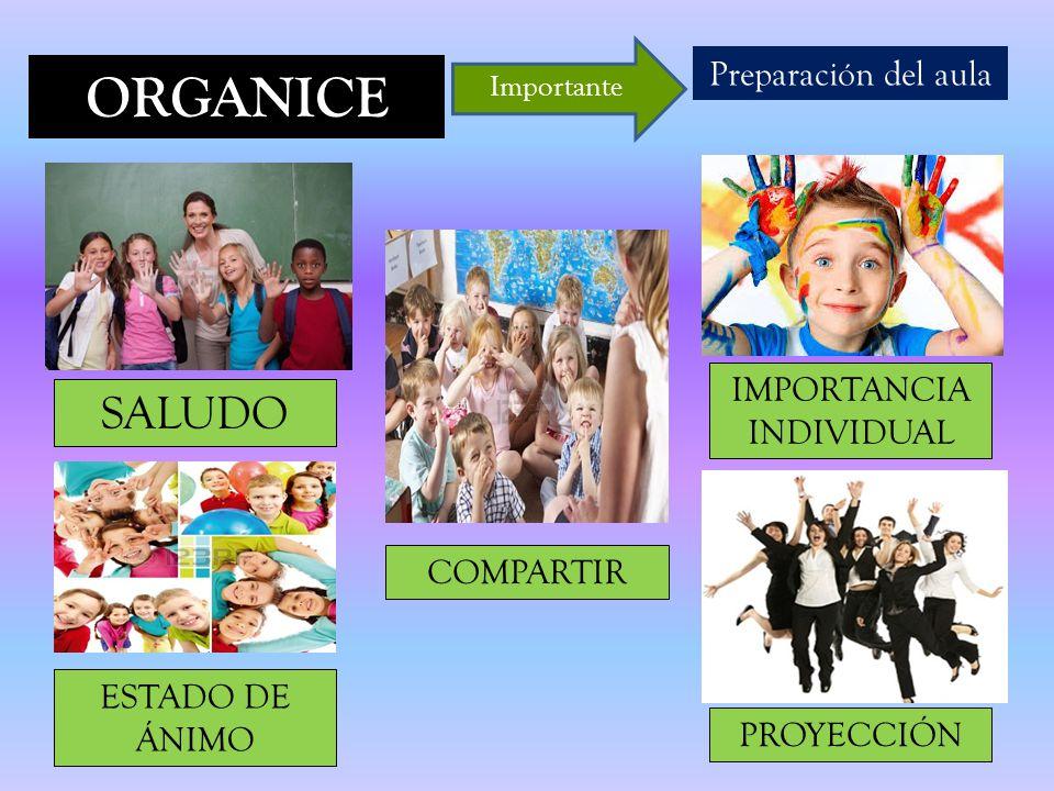 ORGANICE Preparación del aula Importante SALUDO ESTADO DE ÁNIMO COMPARTIR IMPORTANCIA INDIVIDUAL PROYECCIÓN