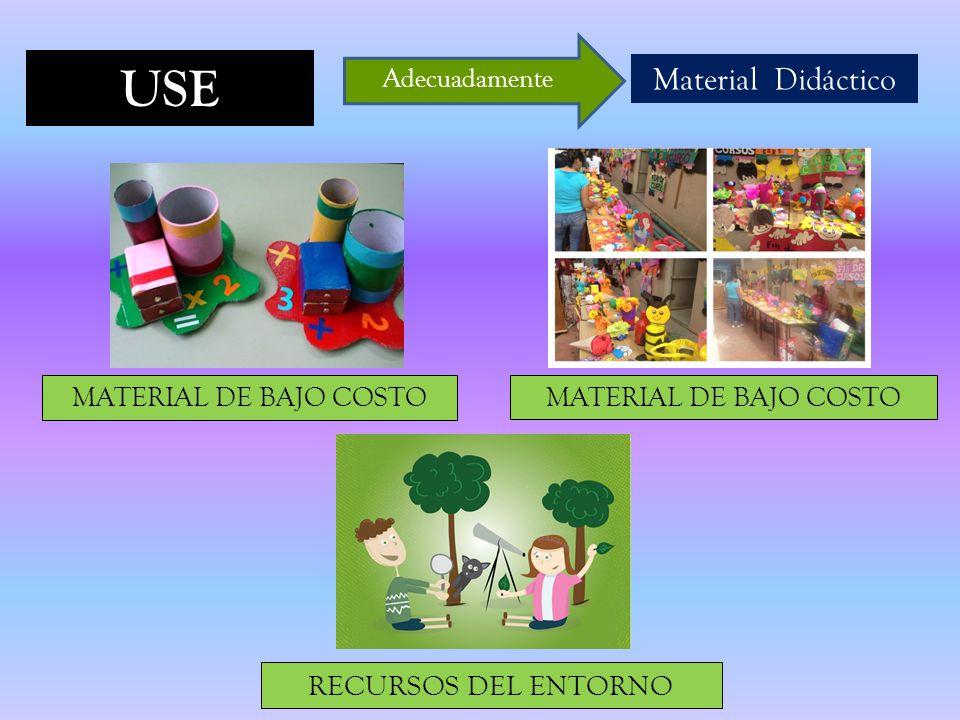 USE Material Didáctico Adecuadamente MATERIAL DE BAJO COSTO RECURSOS DEL ENTORNO