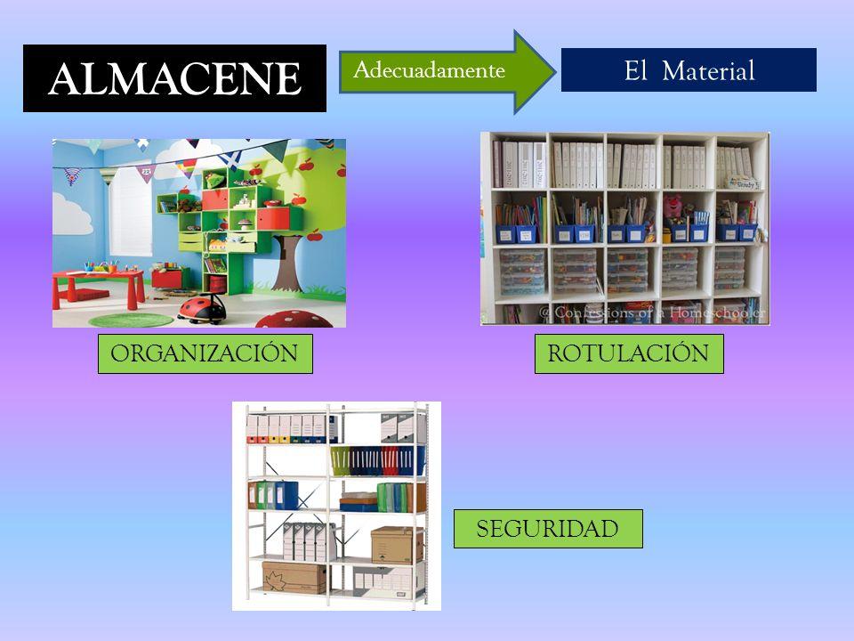 ALMACENE El Material Adecuadamente ORGANIZACIÓNROTULACIÓN SEGURIDAD