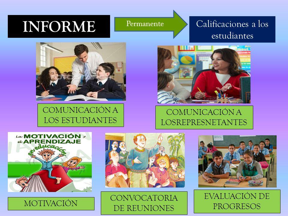 INFORME Calificaciones a los estudiantes Permanente COMUNICACIÓN A LOS ESTUDIANTES COMUNICACIÓN A LOSREPRESNETANTES MOTIVACIÓN CONVOCATORIA DE REUNIONES EVALUACIÓN DE PROGRESOS