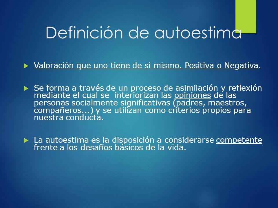 Definición de autoestima Valoración que uno tiene de si mismo. Positiva o Negativa. Se forma a través de un proceso de asimilación y reflexión mediant