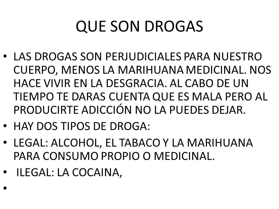 QUE SON DROGAS LAS DROGAS SON PERJUDICIALES PARA NUESTRO CUERPO, MENOS LA MARIHUANA MEDICINAL. NOS HACE VIVIR EN LA DESGRACIA. AL CABO DE UN TIEMPO TE
