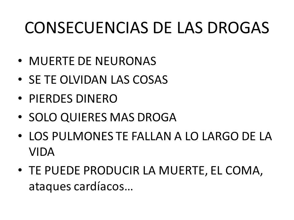 CONSECUENCIAS DE LAS DROGAS MUERTE DE NEURONAS SE TE OLVIDAN LAS COSAS PIERDES DINERO SOLO QUIERES MAS DROGA LOS PULMONES TE FALLAN A LO LARGO DE LA V