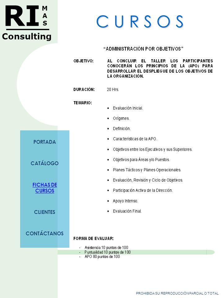 PROHIBIDA SU REPRODUCCIÓN PARCIAL O TOTAL RI MASMAS Consulting C U R S O S PORTADA CATÁLOGO FICHAS DE CURSOS CLIENTES CONTÁCTANOS