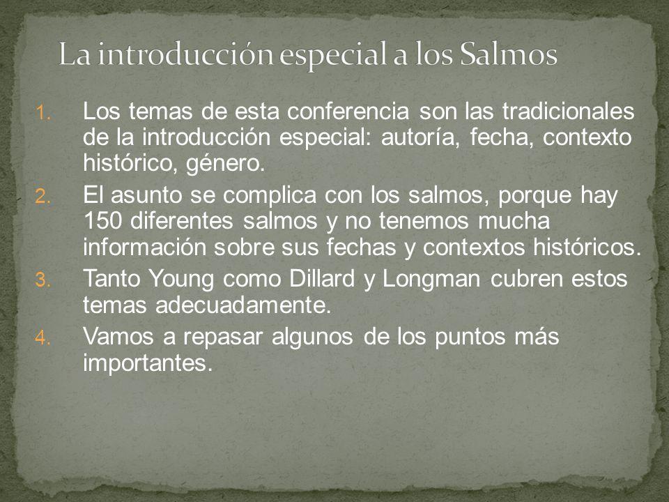1. Los temas de esta conferencia son las tradicionales de la introducción especial: autoría, fecha, contexto histórico, género. 2. El asunto se compli