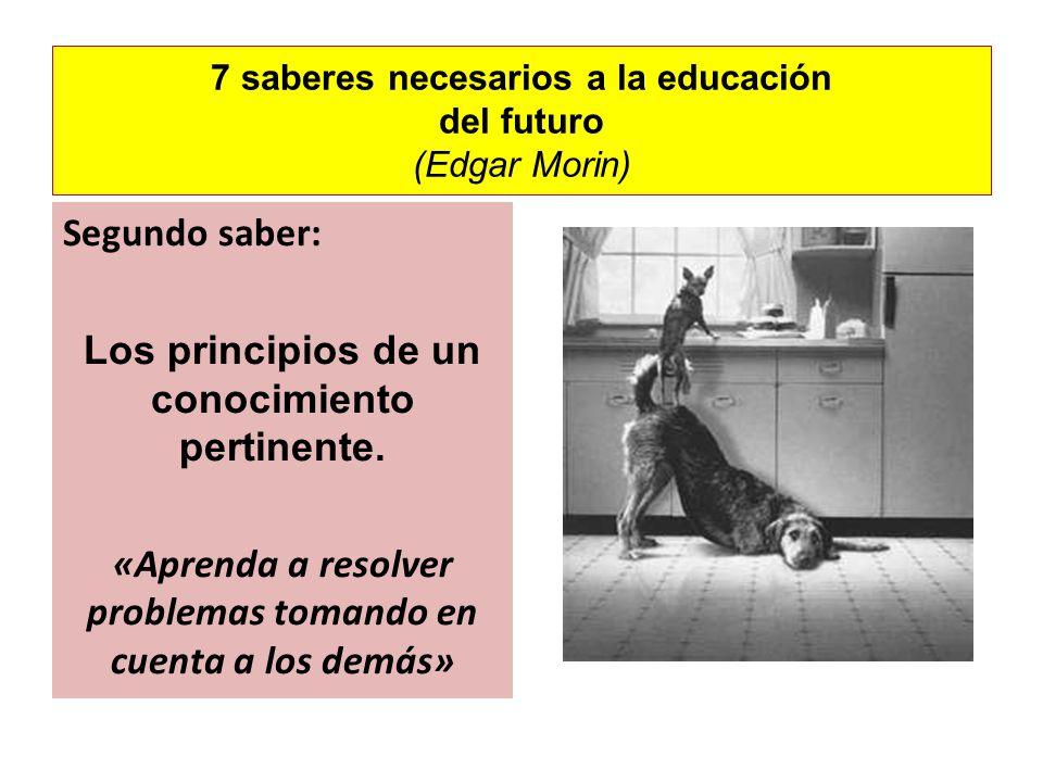7 saberes necesarios a la educación del futuro (Edgar Morin) Segundo saber: Los principios de un conocimiento pertinente. «Aprenda a resolver problema