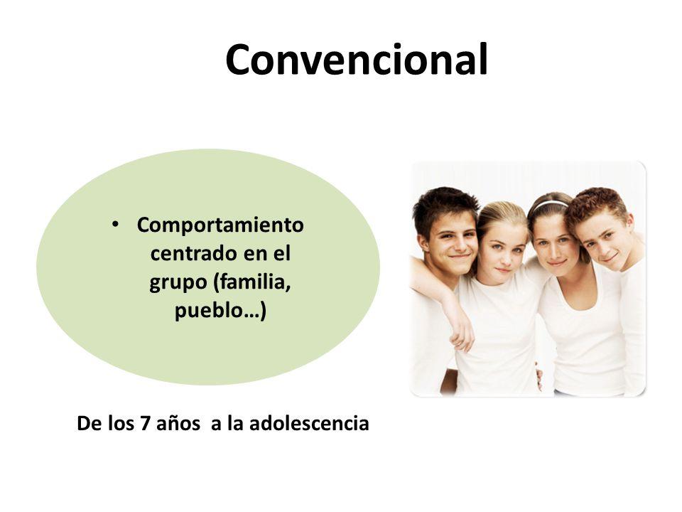 Comportamiento centrado en el grupo (familia, pueblo…) Convencional De los 7 años a la adolescencia