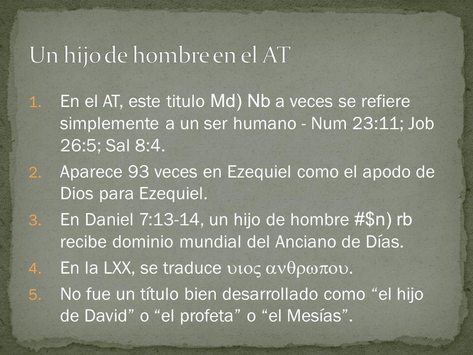 1. En el AT, este titulo Md) Nb a veces se refiere simplemente a un ser humano - Num 23:11; Job 26:5; Sal 8:4. 2. Aparece 93 veces en Ezequiel como el