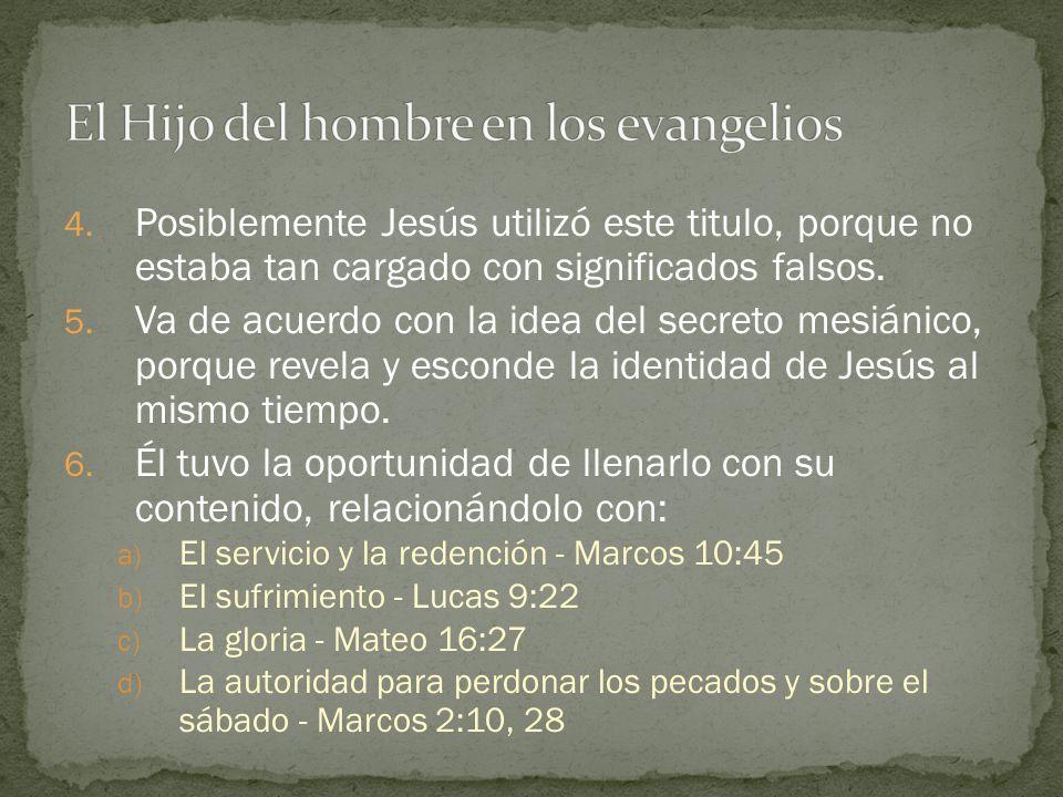 4. Posiblemente Jesús utilizó este titulo, porque no estaba tan cargado con significados falsos. 5. Va de acuerdo con la idea del secreto mesiánico, p