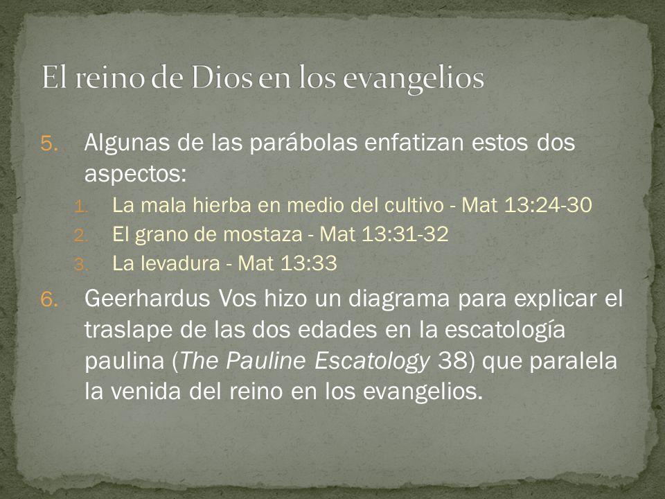 5. Algunas de las parábolas enfatizan estos dos aspectos: 1. La mala hierba en medio del cultivo - Mat 13:24-30 2. El grano de mostaza - Mat 13:31-32