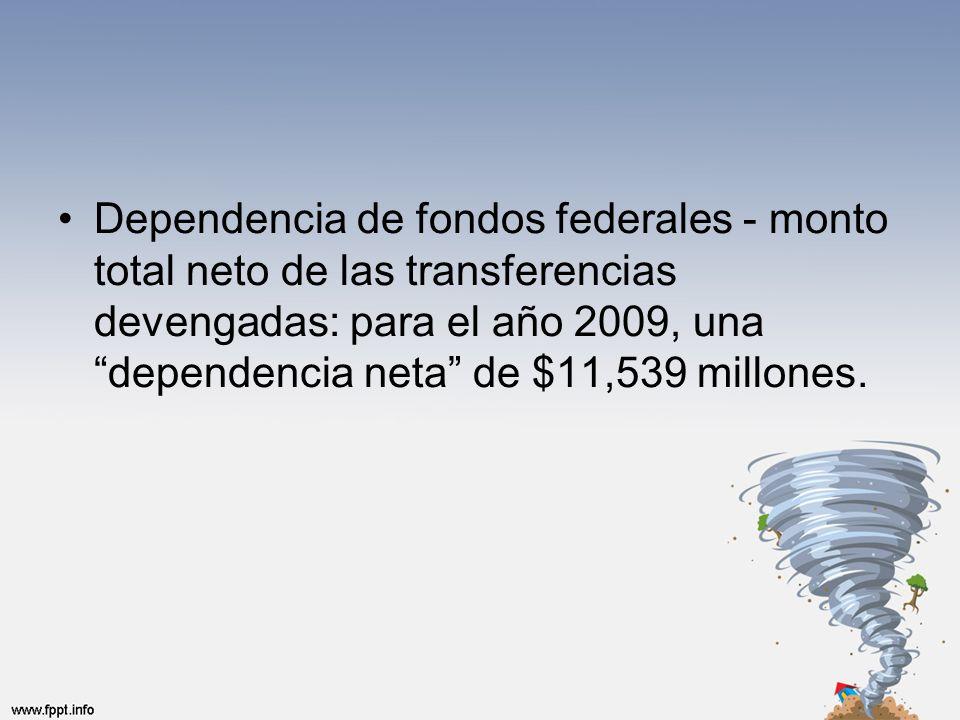 Dependencia de fondos federales - monto total neto de las transferencias devengadas: para el año 2009, una dependencia neta de $11,539 millones.