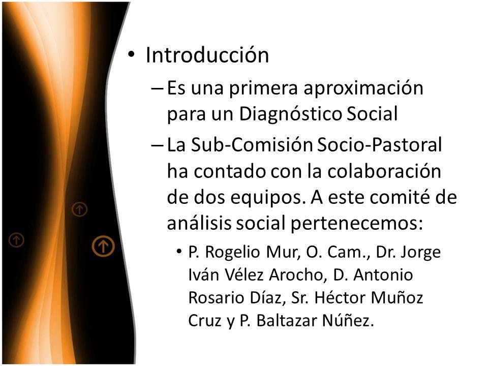 Introducción – Es una primera aproximación para un Diagnóstico Social – La Sub-Comisión Socio-Pastoral ha contado con la colaboración de dos equipos.