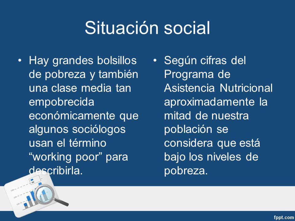 Situación social Hay grandes bolsillos de pobreza y también una clase media tan empobrecida económicamente que algunos sociólogos usan el término working poor para describirla.