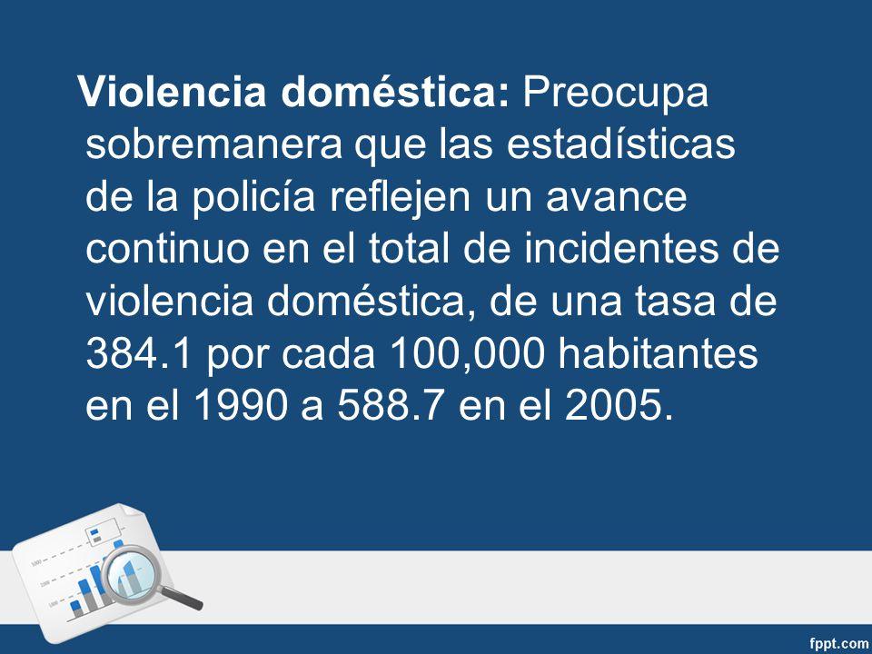 Violencia doméstica: Preocupa sobremanera que las estadísticas de la policía reflejen un avance continuo en el total de incidentes de violencia doméstica, de una tasa de 384.1 por cada 100,000 habitantes en el 1990 a 588.7 en el 2005.