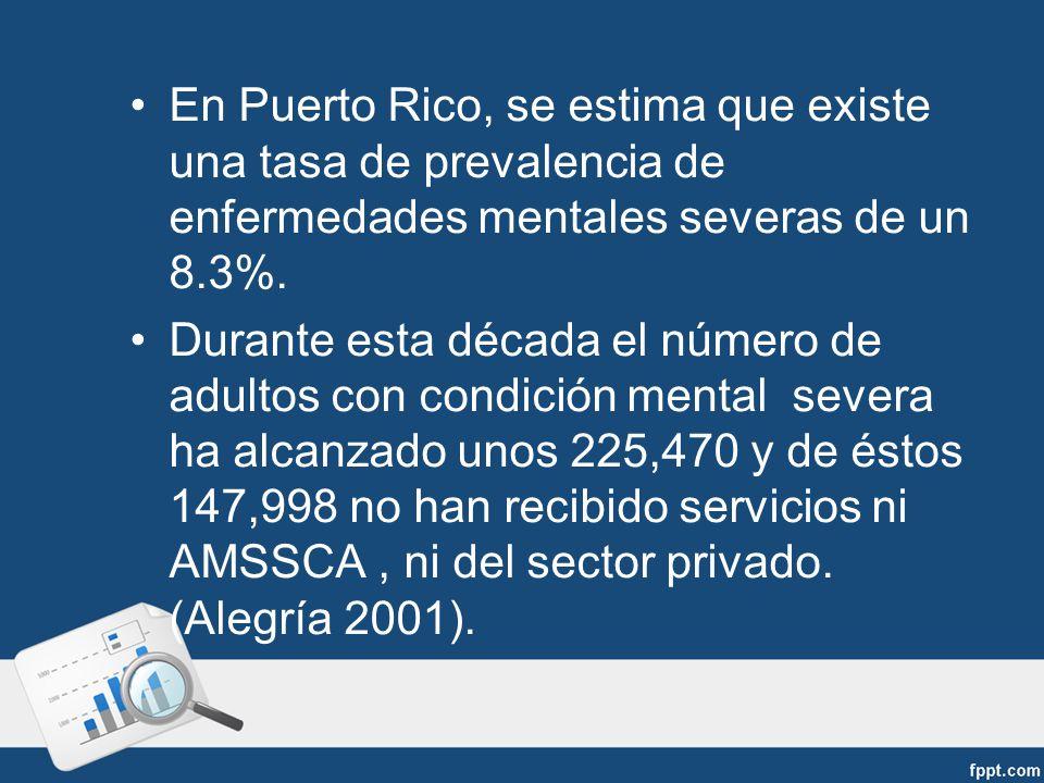 En Puerto Rico, se estima que existe una tasa de prevalencia de enfermedades mentales severas de un 8.3%.