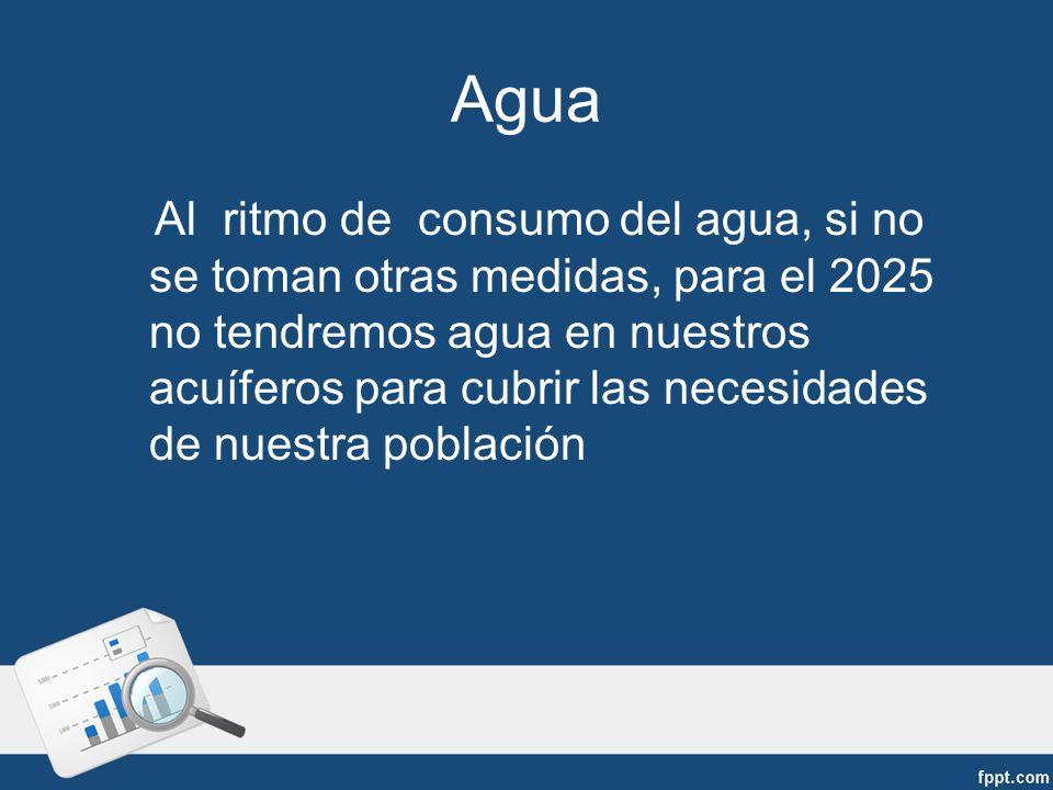 Al ritmo de consumo del agua, si no se toman otras medidas, para el 2025 no tendremos agua en nuestros acuíferos para cubrir las necesidades de nuestra población Agua