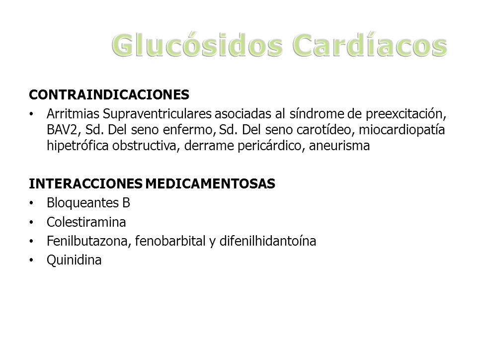 CONTRAINDICACIONES Arritmias Supraventriculares asociadas al síndrome de preexcitación, BAV2, Sd. Del seno enfermo, Sd. Del seno carotídeo, miocardiop