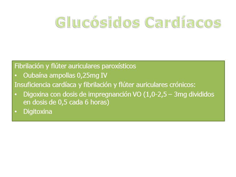Fibrilación y flúter auriculares paroxísticos Oubaína ampollas 0,25mg IV Insuficiencia cardíaca y fibrilación y flúter auriculares crónicos: Digoxina con dosis de impregnanción VO (1,0-2,5 – 3mg divididos en dosis de 0,5 cada 6 horas) Digitoxina