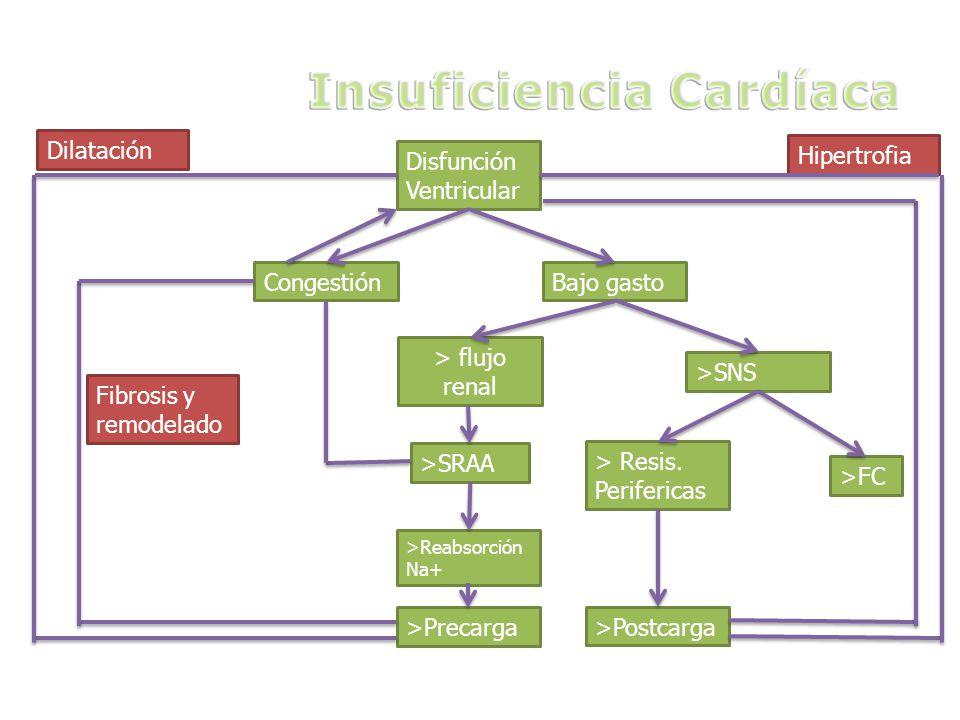 Disfunción Ventricular CongestiónBajo gasto > flujo renal >SNS >SRAA > Resis. Perifericas >FC >Postcarga >Reabsorción Na+ >Precarga Fibrosis y remodel