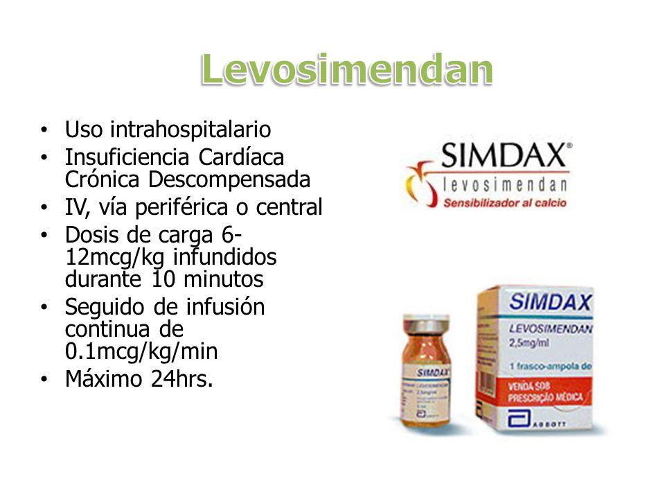Uso intrahospitalario Insuficiencia Cardíaca Crónica Descompensada IV, vía periférica o central Dosis de carga 6- 12mcg/kg infundidos durante 10 minut
