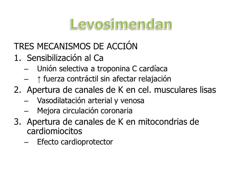 TRES MECANISMOS DE ACCIÓN 1.Sensibilización al Ca – Unión selectiva a troponina C cardíaca – fuerza contráctil sin afectar relajación 2.Apertura de canales de K en cel.