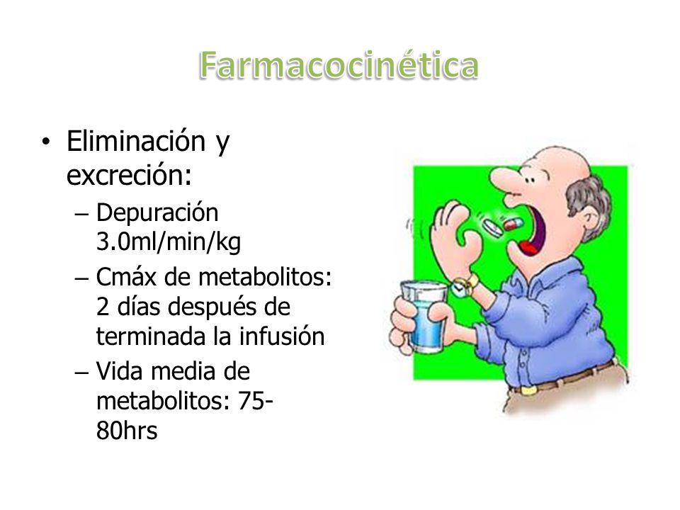 Eliminación y excreción: – Depuración 3.0ml/min/kg – Cmáx de metabolitos: 2 días después de terminada la infusión – Vida media de metabolitos: 75- 80h
