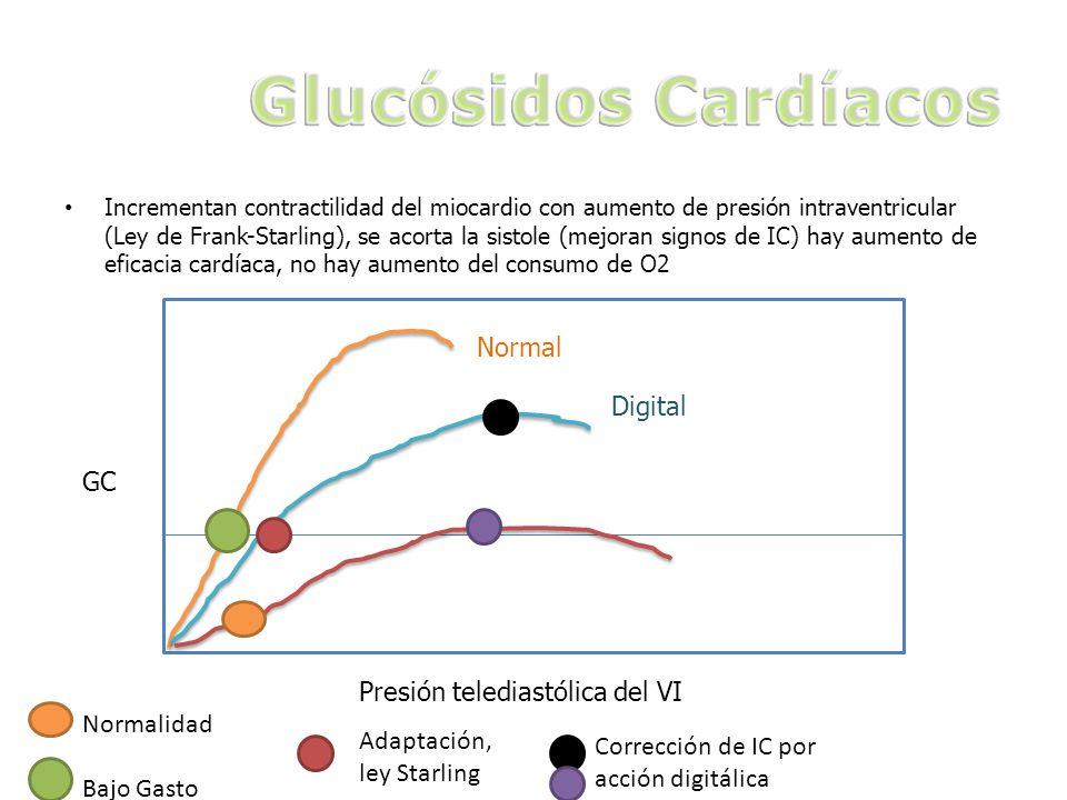 Incrementan contractilidad del miocardio con aumento de presión intraventricular (Ley de Frank-Starling), se acorta la sistole (mejoran signos de IC) hay aumento de eficacia cardíaca, no hay aumento del consumo de O2 GC Presión telediastólica del VI Normal Digital Normalidad Bajo Gasto Adaptación, ley Starling Corrección de IC por acción digitálica