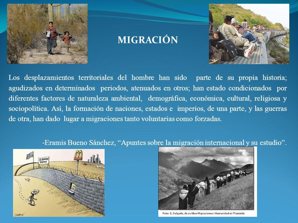 MIGRACIÓN Los desplazamientos territoriales del hombre han sido parte de su propia historia; agudizados en determinados periodos, atenuados en otros;