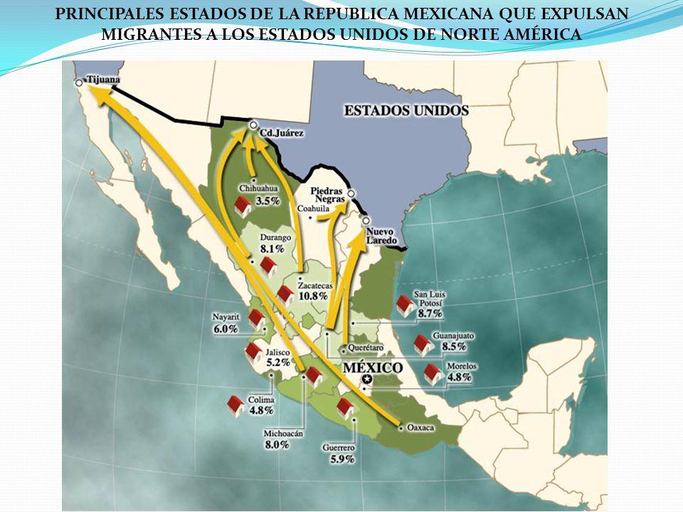 PRINCIPALES ESTADOS DE LA REPUBLICA MEXICANA QUE EXPULSAN MIGRANTES A LOS ESTADOS UNIDOS DE NORTE AMÉRICA