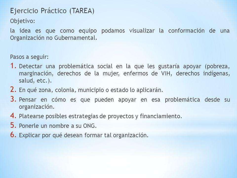 Ejercicio Práctico (TAREA) Objetivo: la idea es que como equipo podamos visualizar la conformación de una Organización no Gubernamental. Pasos a segui