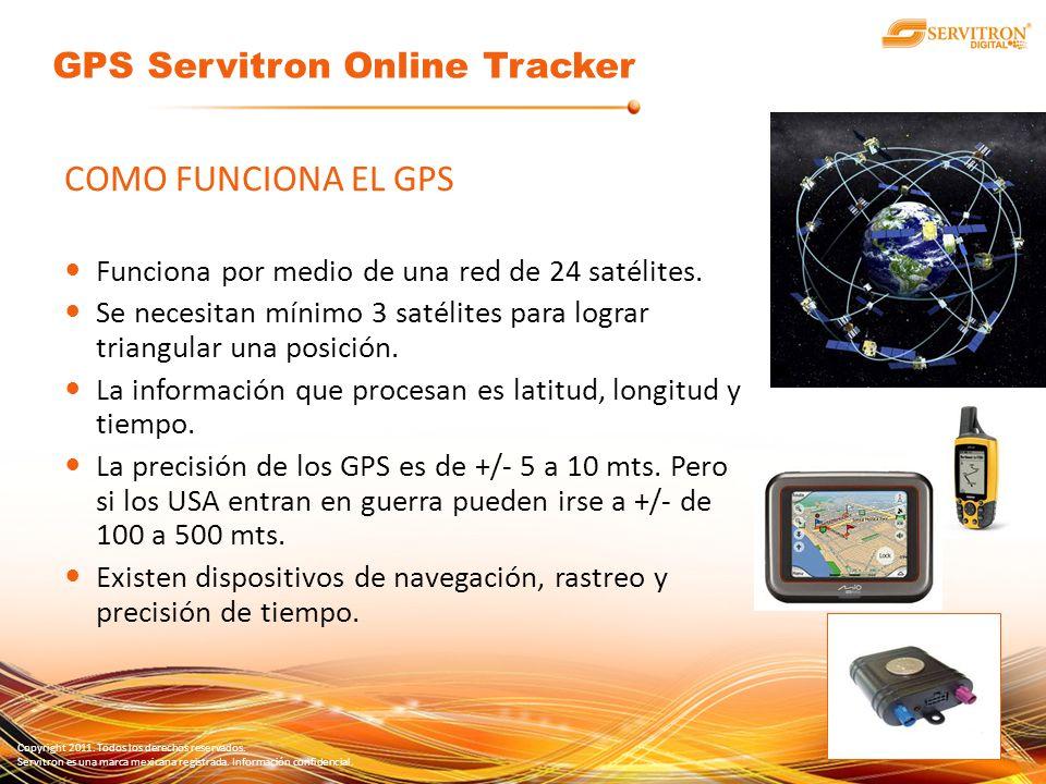Copyright 2011. Todos los derechos reservados. Servitron es una marca mexicana registrada. Información confidencial. COMO FUNCIONA EL GPS Funciona por