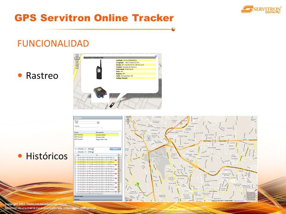 Copyright 2011. Todos los derechos reservados. Servitron es una marca mexicana registrada. Información confidencial. FUNCIONALIDAD Rastreo Históricos