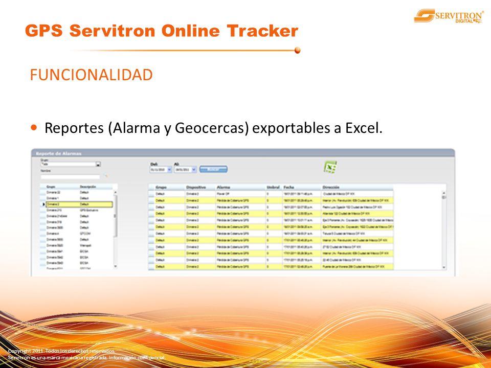 Copyright 2011. Todos los derechos reservados. Servitron es una marca mexicana registrada. Información confidencial. FUNCIONALIDAD Reportes (Alarma y