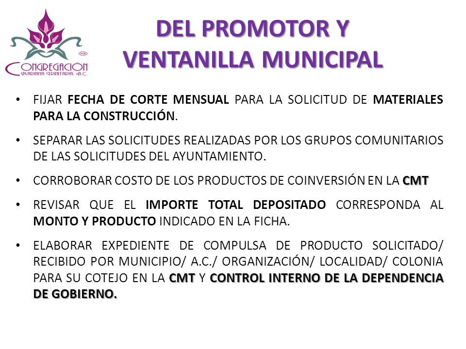 DEL PROMOTOR Y VENTANILLA MUNICIPAL FIJAR FECHA DE CORTE MENSUAL PARA LA SOLICITUD DE MATERIALES PARA LA CONSTRUCCIÓN. SEPARAR LAS SOLICITUDES REALIZA