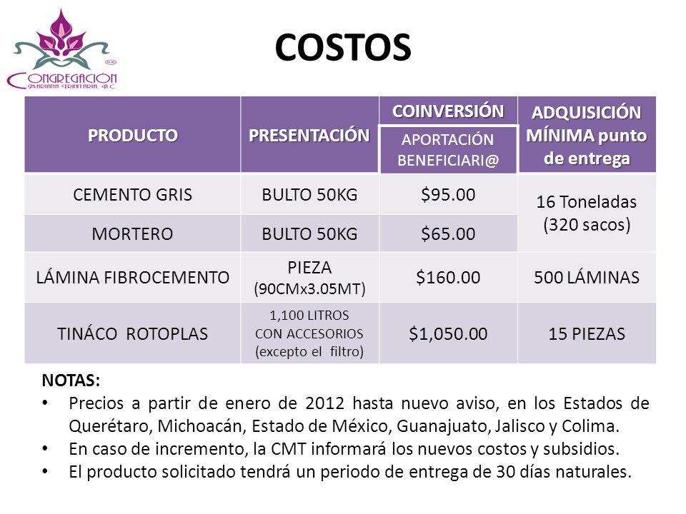 COSTOS PRODUCTOPRESENTACIÓN COINVERSIÓN ADQUISICIÓN MÍNIMA punto de entrega APORTACIÓN BENEFICIARI@ CEMENTO GRISBULTO 50KG$95.00 16 Toneladas (320 sac