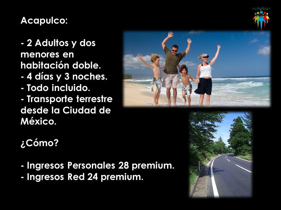 Acapulco: - 2 Adultos y dos menores en habitación doble. - 4 días y 3 noches. - Todo incluido. - Transporte terrestre desde la Ciudad de México. ¿Cómo