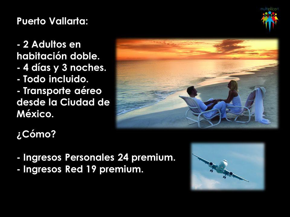 Puerto Vallarta: - 2 Adultos en habitación doble. - 4 días y 3 noches. - Todo incluido. - Transporte aéreo desde la Ciudad de México. ¿Cómo? - Ingreso