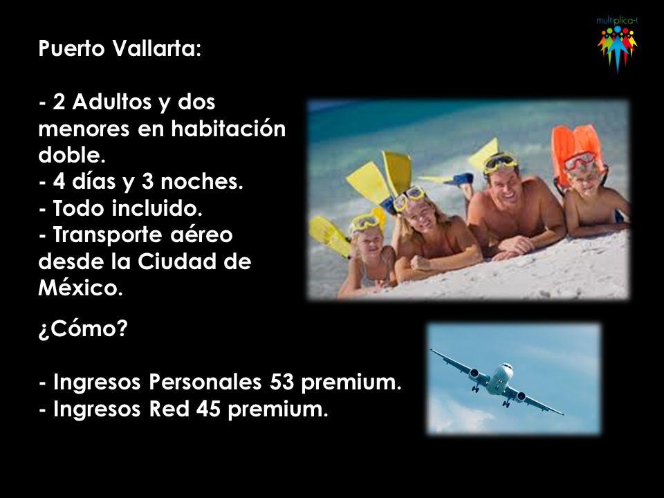 Puerto Vallarta: - 2 Adultos y dos menores en habitación doble. - 4 días y 3 noches. - Todo incluido. - Transporte aéreo desde la Ciudad de México. ¿C