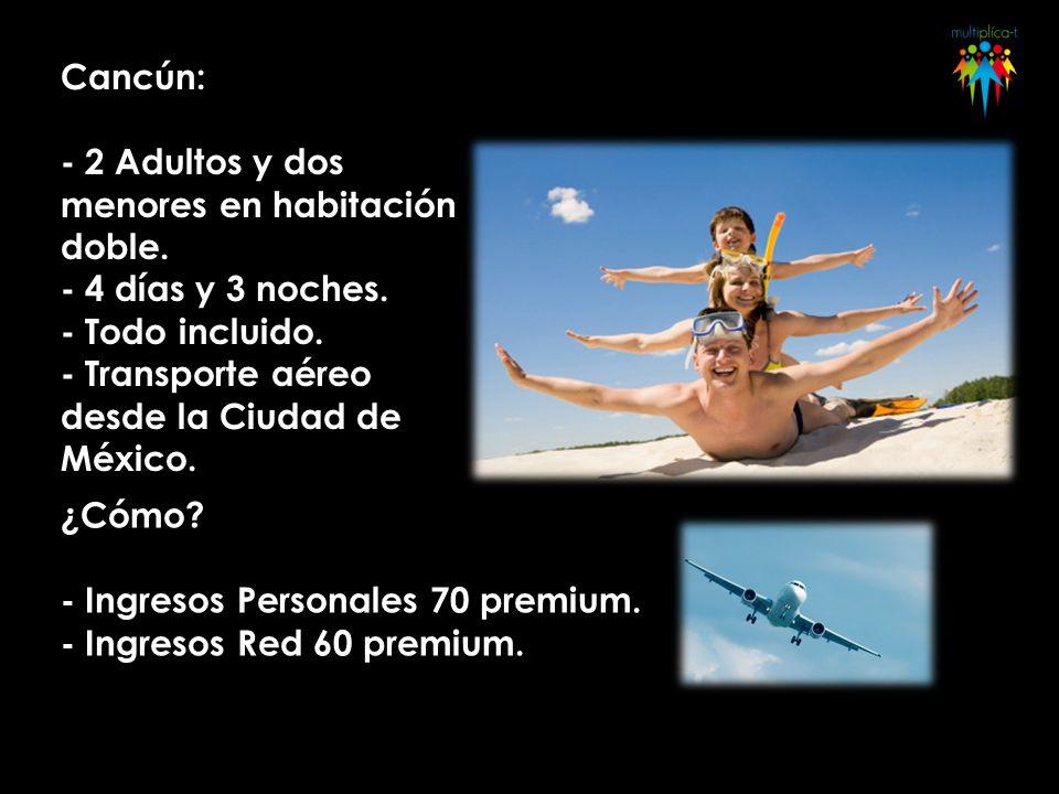 Cancún: - 2 Adultos y dos menores en habitación doble. - 4 días y 3 noches. - Todo incluido. - Transporte aéreo desde la Ciudad de México. ¿Cómo? - In