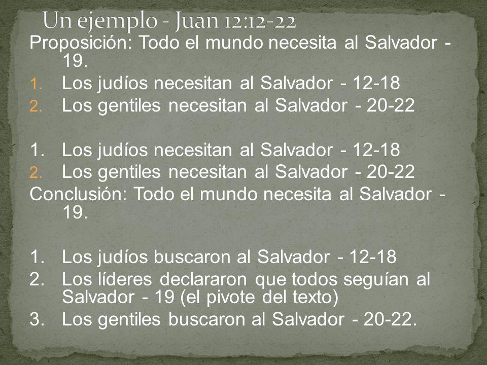 Proposición: Todo el mundo necesita al Salvador - 19. 1. Los judíos necesitan al Salvador - 12-18 2. Los gentiles necesitan al Salvador - 20-22 1.Los