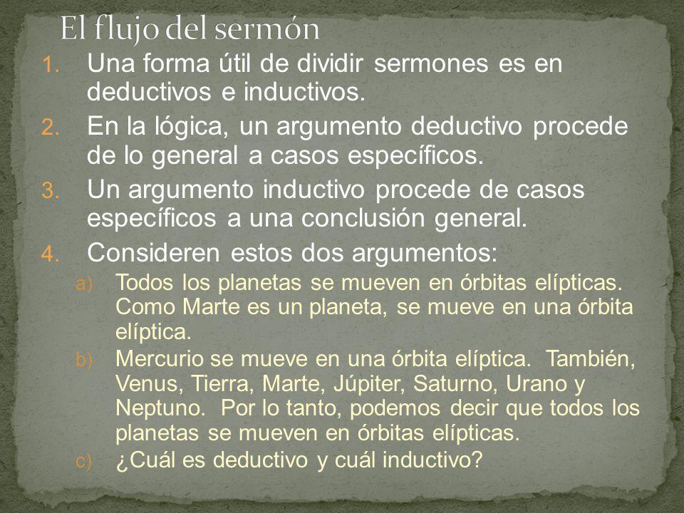 1. Una forma útil de dividir sermones es en deductivos e inductivos. 2. En la lógica, un argumento deductivo procede de lo general a casos específicos