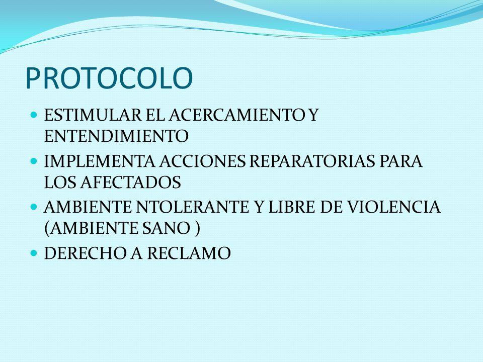 PROTOCOLO ESTIMULAR EL ACERCAMIENTO Y ENTENDIMIENTO IMPLEMENTA ACCIONES REPARATORIAS PARA LOS AFECTADOS AMBIENTE NTOLERANTE Y LIBRE DE VIOLENCIA (AMBI