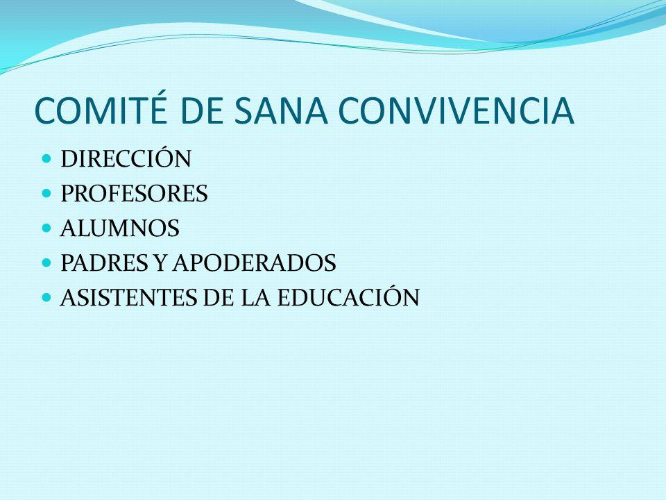 COMITÉ DE SANA CONVIVENCIA DIRECCIÓN PROFESORES ALUMNOS PADRES Y APODERADOS ASISTENTES DE LA EDUCACIÓN
