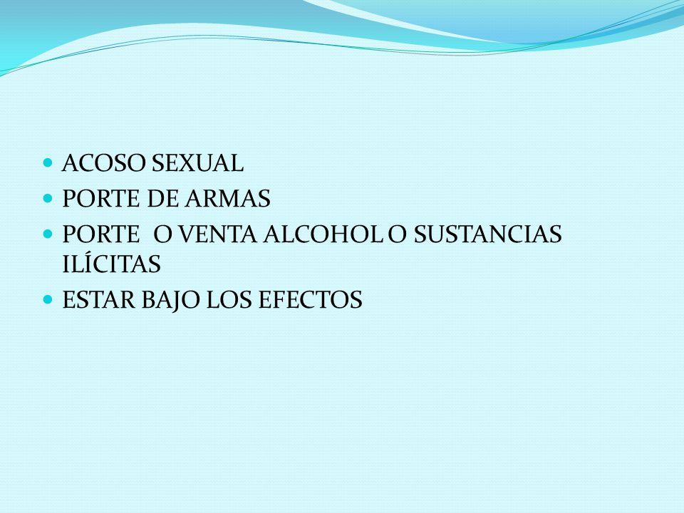 ACOSO SEXUAL PORTE DE ARMAS PORTE O VENTA ALCOHOL O SUSTANCIAS ILÍCITAS ESTAR BAJO LOS EFECTOS