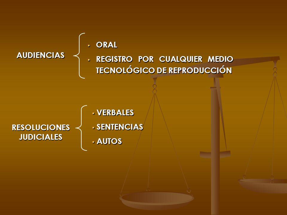 AUDIENCIAS ORAL ORAL REGISTRO POR CUALQUIER MEDIO TECNOLÓGICO DE REPRODUCCIÓN REGISTRO POR CUALQUIER MEDIO TECNOLÓGICO DE REPRODUCCIÓN RESOLUCIONES JU