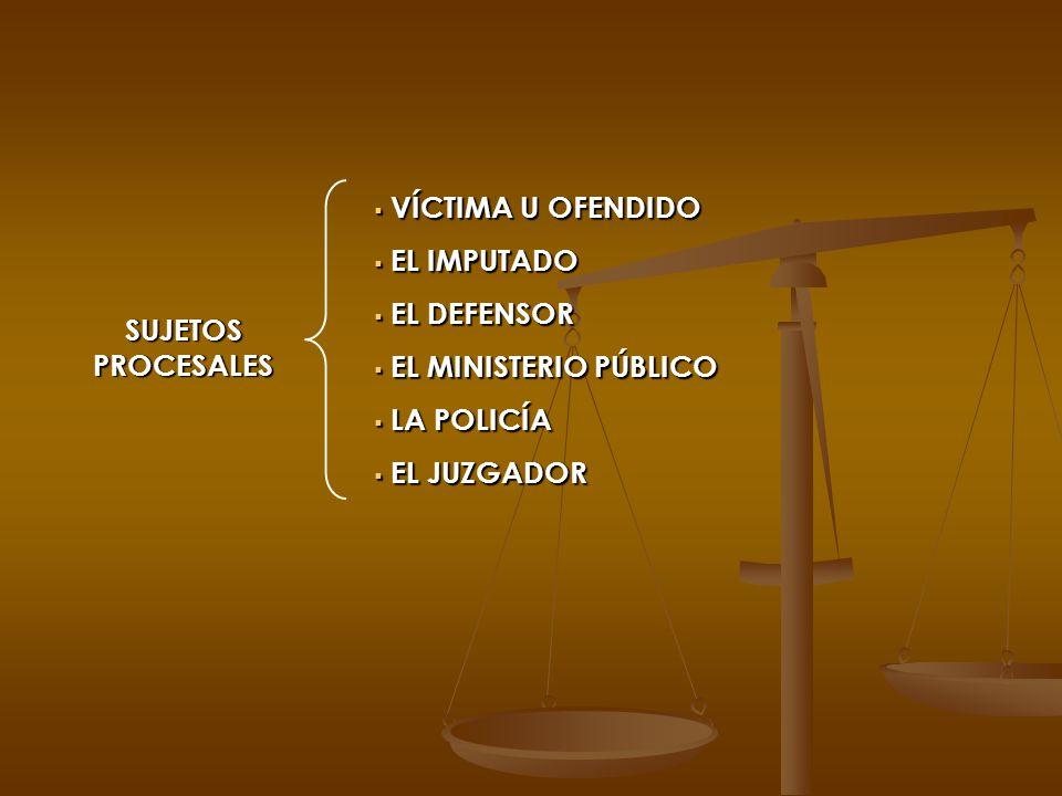 SUJETOS PROCESALES VÍCTIMA U OFENDIDO VÍCTIMA U OFENDIDO EL IMPUTADO EL IMPUTADO EL DEFENSOR EL DEFENSOR EL MINISTERIO PÚBLICO EL MINISTERIO PÚBLICO L