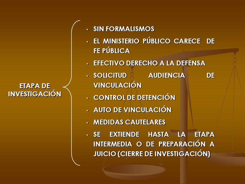 ETAPA DE INVESTIGACIÓN SIN FORMALISMOS SIN FORMALISMOS EL MINISTERIO PÚBLICO CARECE DE FE PÚBLICA EL MINISTERIO PÚBLICO CARECE DE FE PÚBLICA EFECTIVO