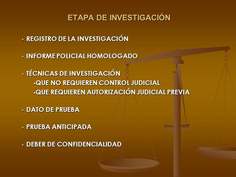 ETAPA DE INVESTIGACIÓN REGISTRO DE LA INVESTIGACIÓN REGISTRO DE LA INVESTIGACIÓN INFORME POLICIAL HOMOLOGADO INFORME POLICIAL HOMOLOGADO TÉCNICAS DE I