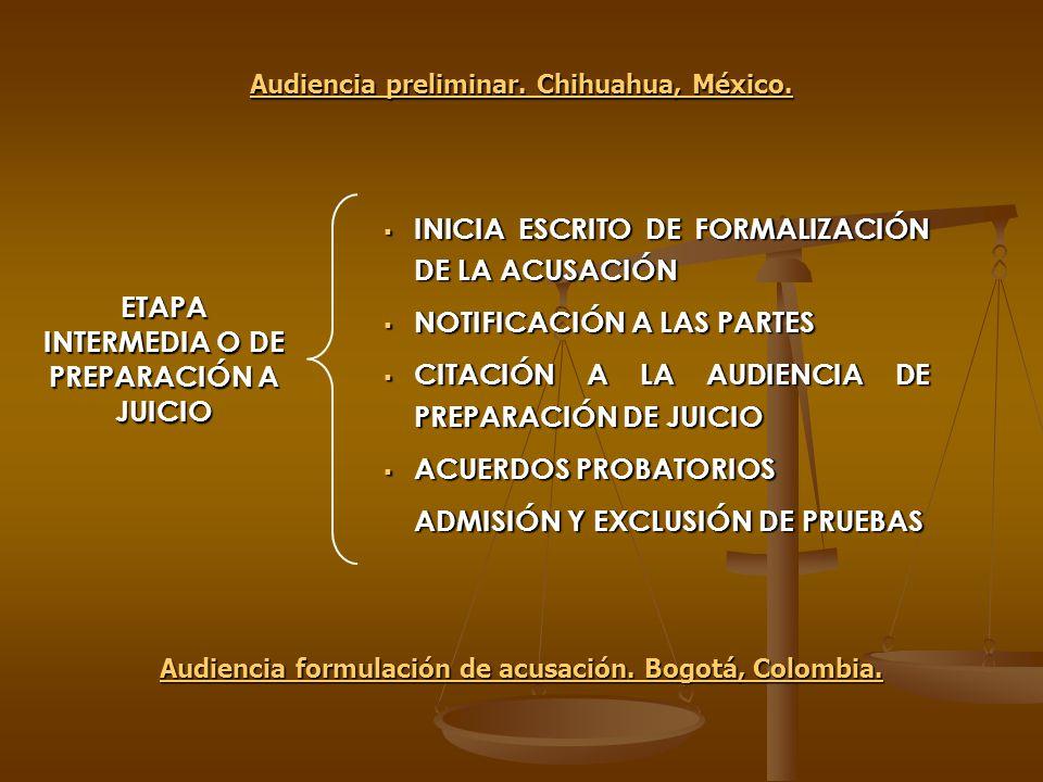 ETAPA INTERMEDIA O DE PREPARACIÓN A JUICIO INICIA ESCRITO DE FORMALIZACIÓN DE LA ACUSACIÓN INICIA ESCRITO DE FORMALIZACIÓN DE LA ACUSACIÓN NOTIFICACIÓ