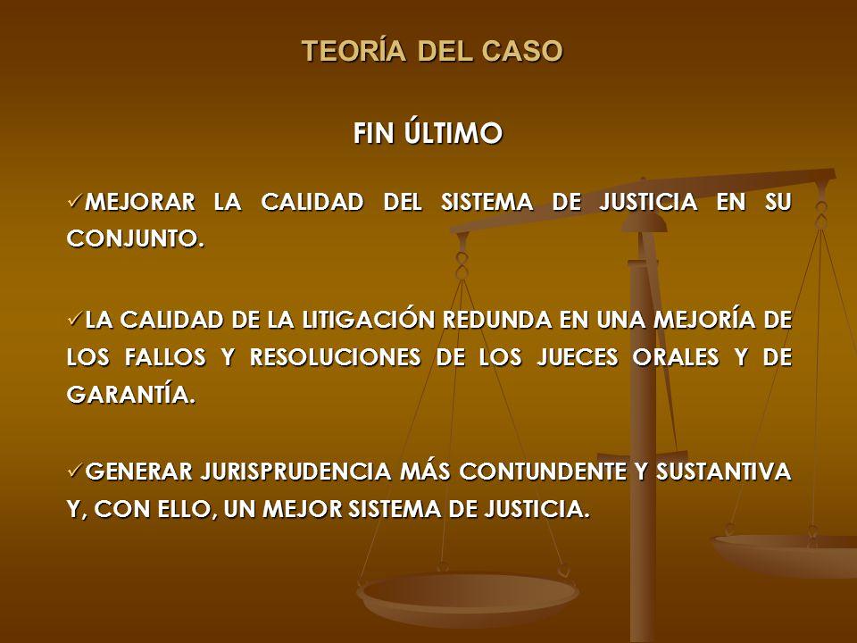 FIN ÚLTIMO MEJORAR LA CALIDAD DEL SISTEMA DE JUSTICIA EN SU CONJUNTO. MEJORAR LA CALIDAD DEL SISTEMA DE JUSTICIA EN SU CONJUNTO. LA CALIDAD DE LA LITI